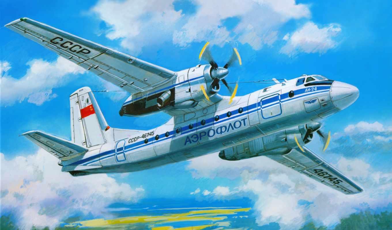 ан, Ан-24, самолета, amodel, antonov, пассажирский, турбовинтовой,, средней,