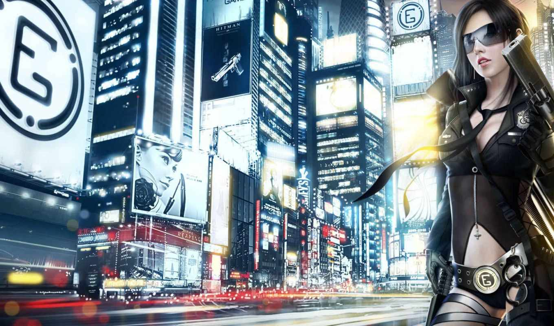 город, anime, огни, девушка,