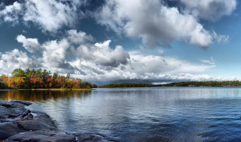 осень, небо, trees, water, природа, река, landscape, лес,