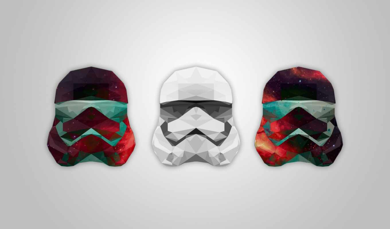 star, war, stormtroop, low, poly, шлем, galaxy, artwork