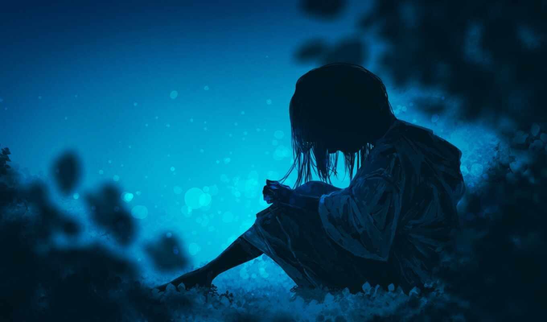 грустный, девушка, настроение, одиночка, ночь, side, off