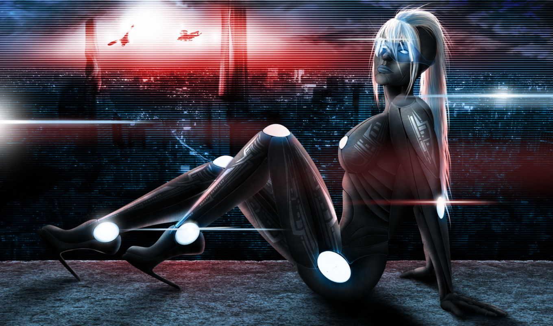 костюм, киборг, огни, тело, девушка, арт, город, fantasy,