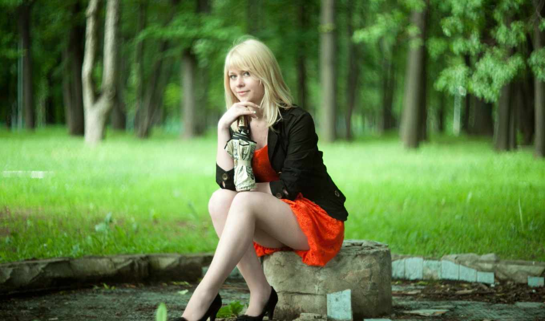 priroda, дождусь, девушек, трава, юбке, сидит, devushka,