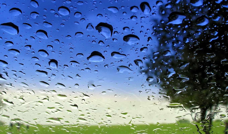 glass, капли, картинка, зелёный, дождя, blue, мокрое,