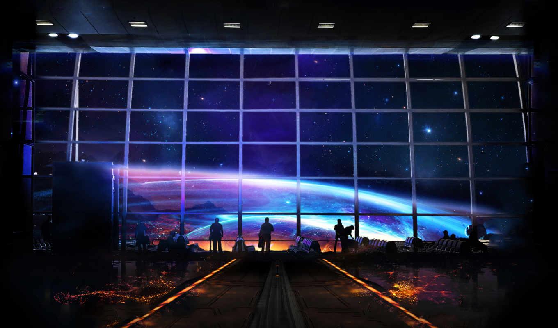 космос, станция, fantasy, art, космопорт, cosmos, люди, фантастика,