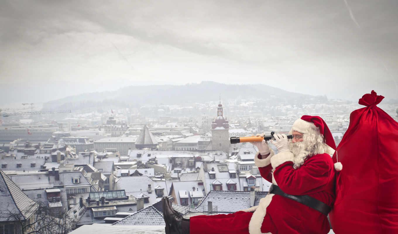 год, new, праздники, дед, winter, иней, города,