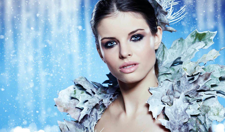 девушка, winter, девушки, фея, красивая, клипарт, женщина, снег, красивые, растровый,