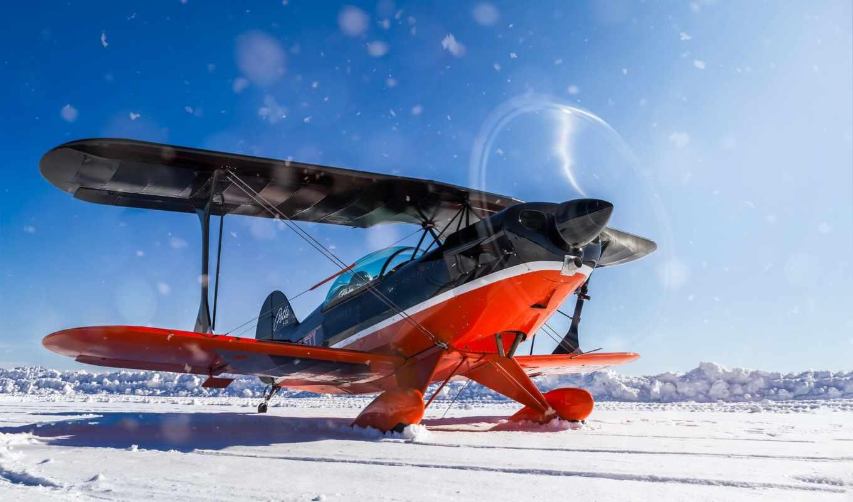 plane, biplane, winter, снег, new, полет, пропеллер, авиация