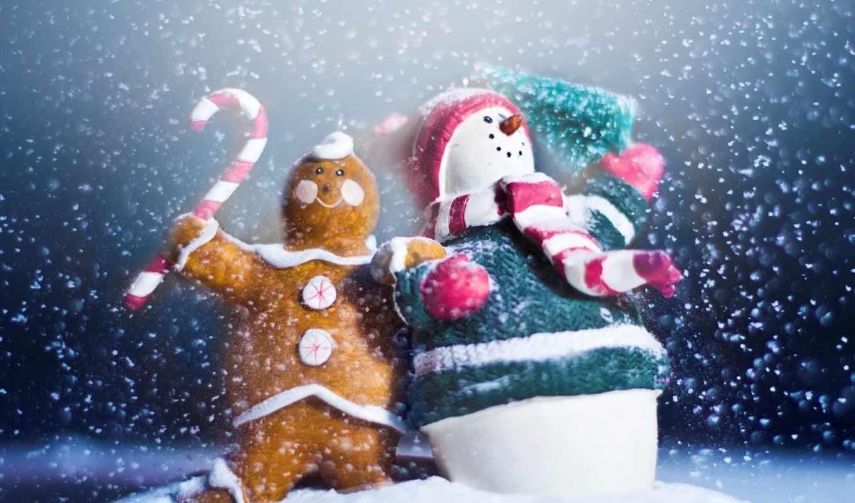 год, новый, снеговик, снег, праздник, пряник, игрушки, сувениры, макро, декабря,