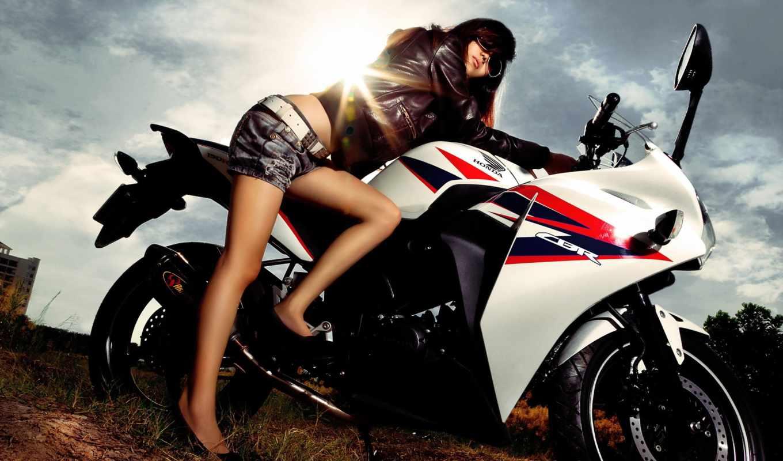 мотоцикл, девушка,
