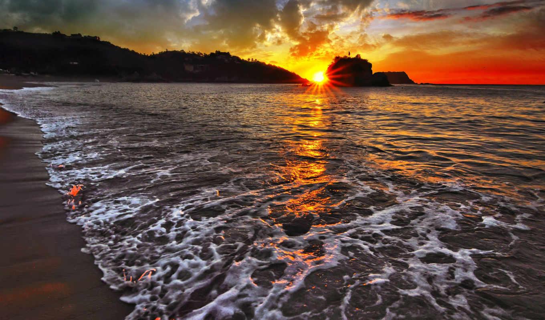 закат, море, небо, волны,