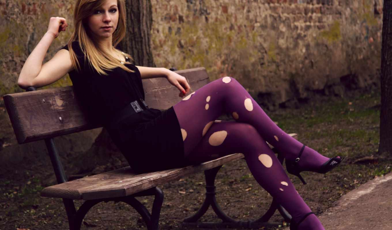 art, devushki, модель, hot, loira, стали, скамейке, banco, fotos,