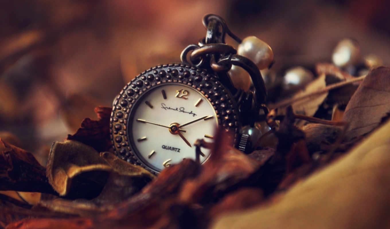 часы, подвеска, рисунки, листья