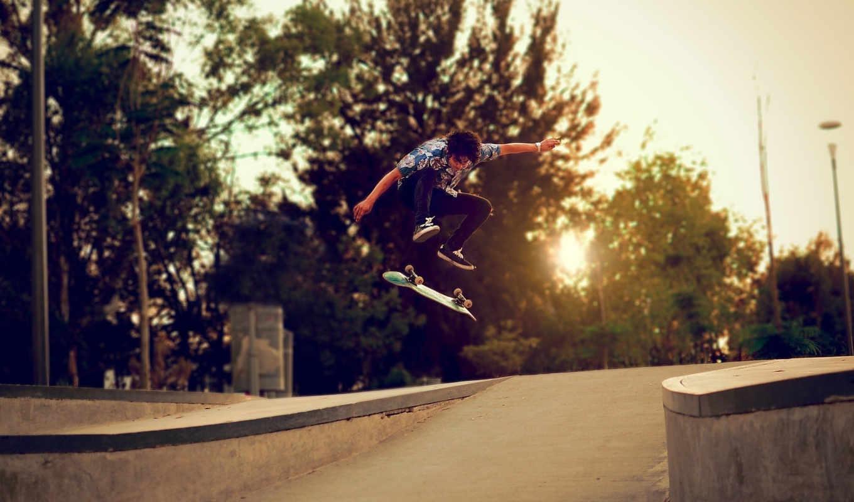 skateboard, trees, парень, улица, спорт,