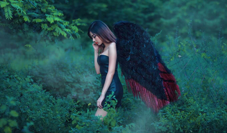 девушка, грустный, красивый, ангела