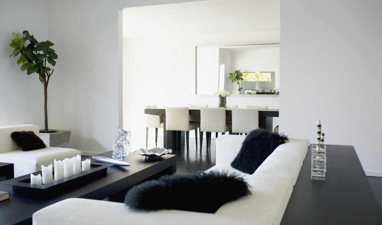 интерьер, дизайн, комната, квартира, дом, стиль, диван, цветы, шахматы, игра, подушки, листья, меховые, растение, картинка, чёрно,