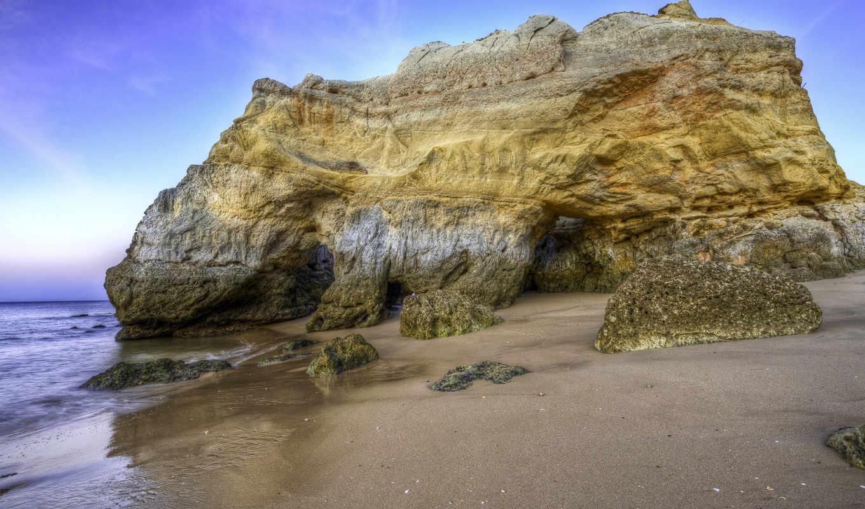 берег, камни, море, утес, песок, пейзажи, пляжи, часть,