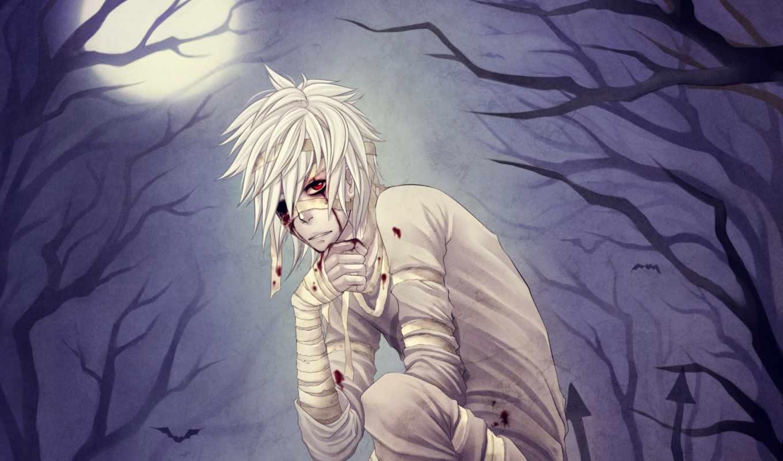 парень, anime, девушка, бинты, раны, взгляд, вконтакте, белые, волосами,