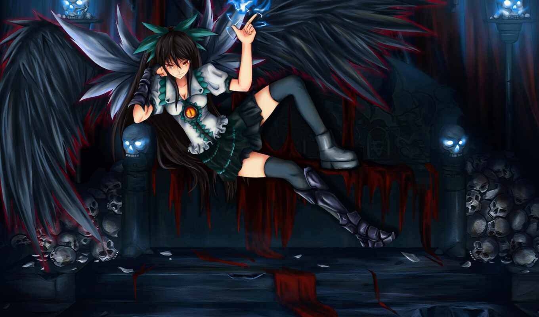 девушка, art, anime, демон, крылья, картинка, демоны, черепа, волосы, touhou, диван,