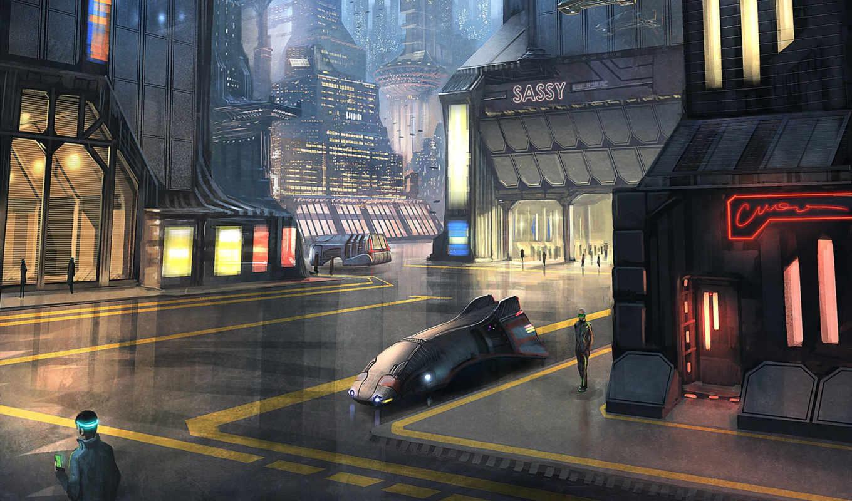город, sci, futuristic, фон,