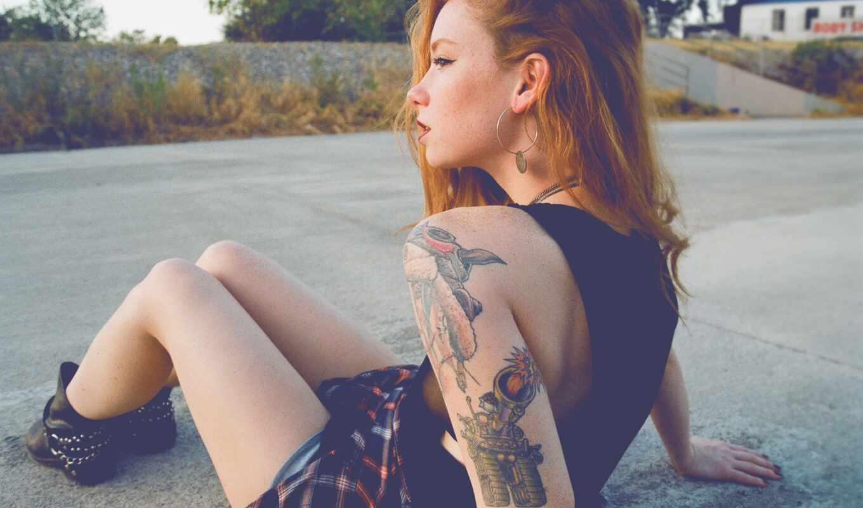 татуировка, redhead, волосы, женщина, модель, long, tat, девушка, танк, leg, sit