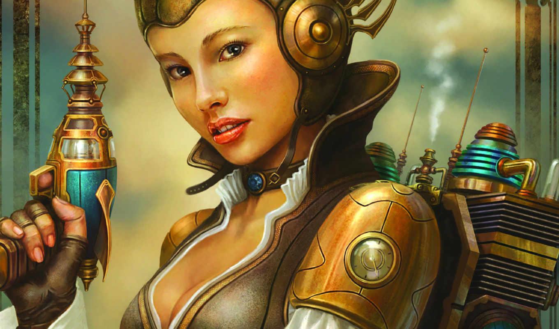 girl, rocket, steampunk,