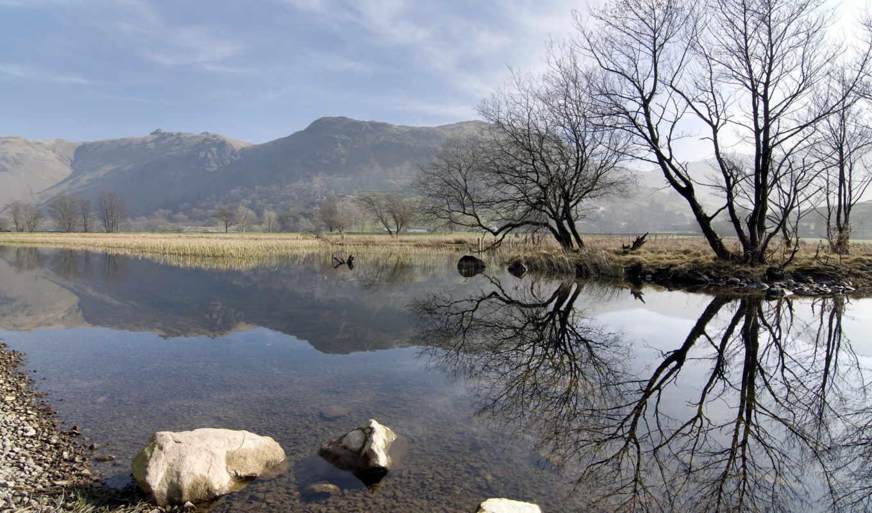 природа, весна, озеро, картинка, горы, деревья, камни, холмы, река,