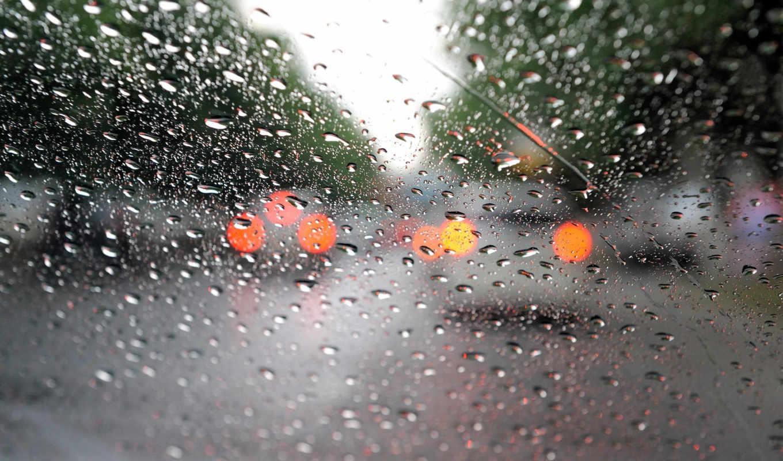 дождь, капли, glass, машины, макро, огни,