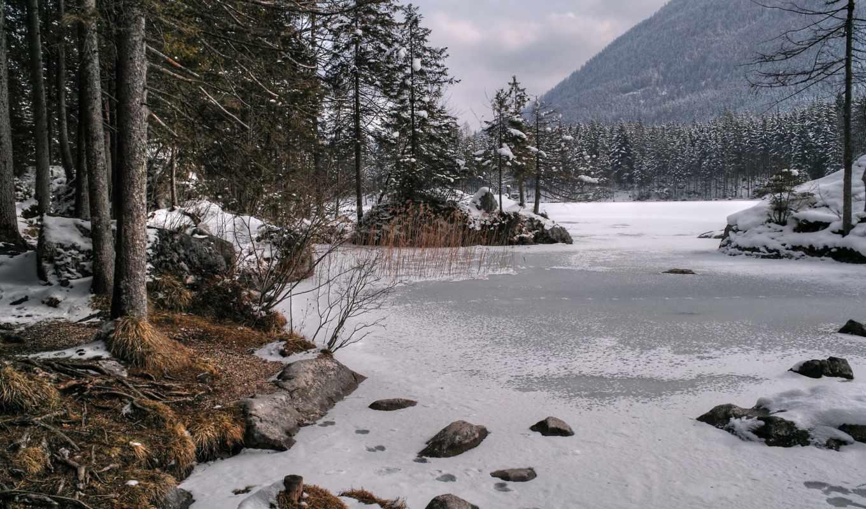 озеро, winter, горы, лед, снег, деревья, природа,