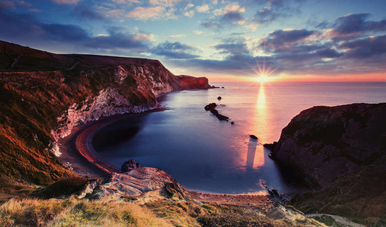 море, взгляд, красивый, побережье, берег, закат, ocean, юрское, landscape,