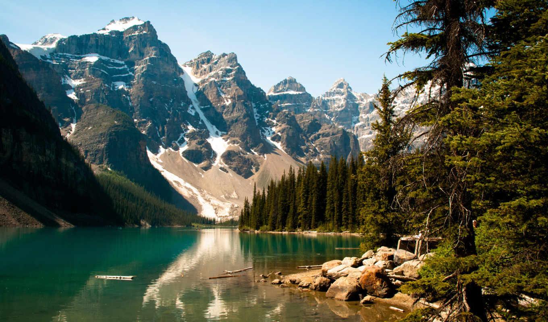 озеро, деревья, лес, moraine, пейзажи, камни, снег, ветки, природы, канада, nature, за, excelent, чтобы, landscapes, янв,