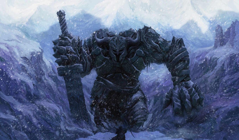 снег, великан, меч, человек, зима, воин, картинка,