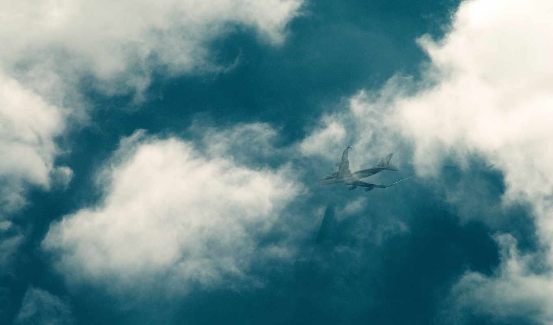самолёт, небо, шлейф, облака, авиация,