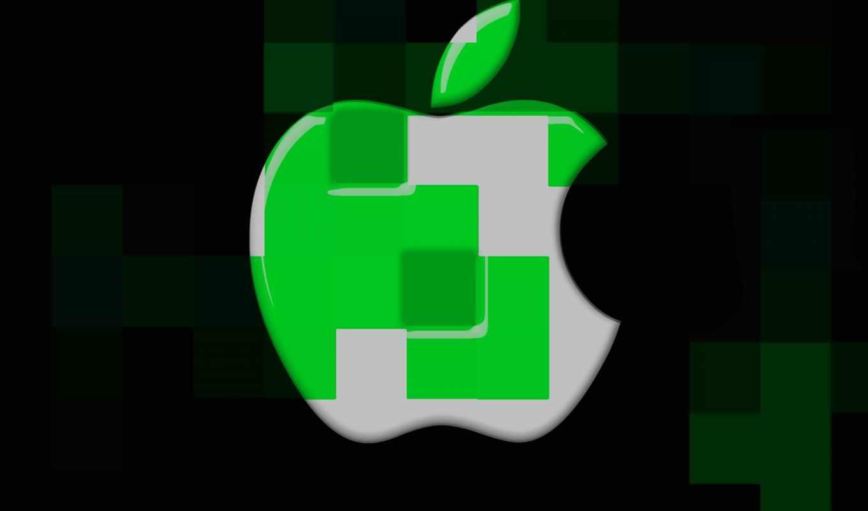 apple, cubes, logo, desktop, mac, green
