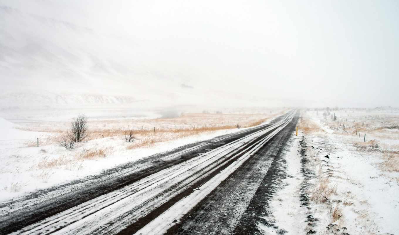 поле, дорога, зима,
