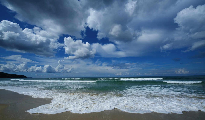 небо, облака, песок, волны, тучи, море, берег, океан, природа, вода, пляж,