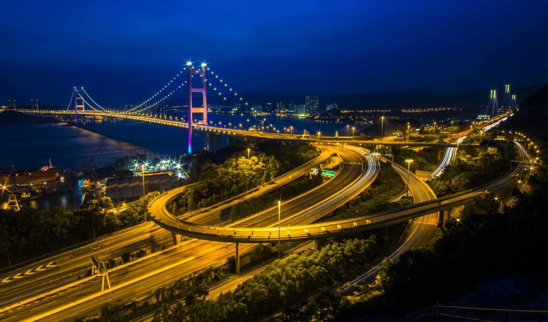 город, hong, ночь, kong, tsing, bridge, дороги,