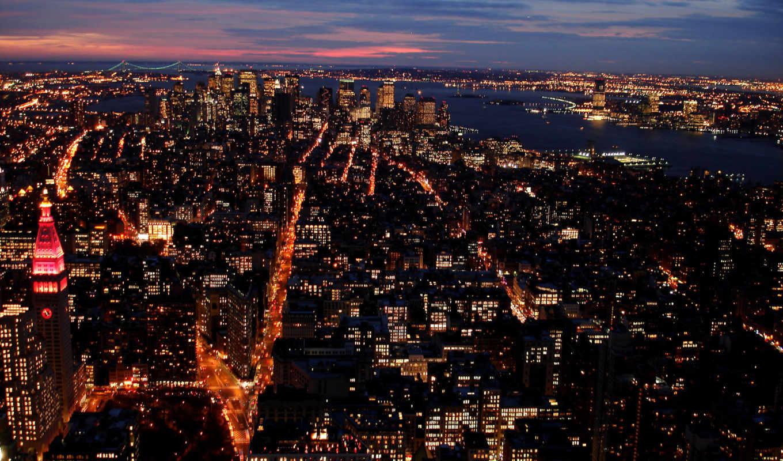 города, огни, город, нью, май, здания, река,