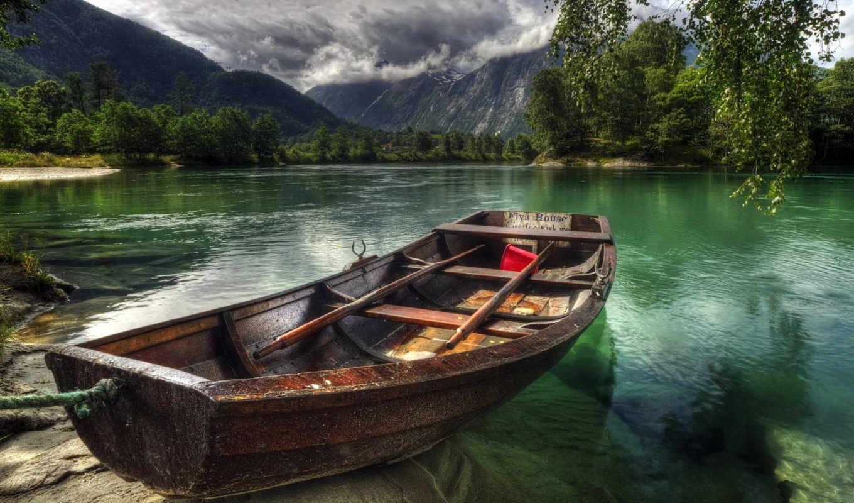 hdr, горы, природа, небо, дома, лодка, города, улица, река, норвегия, совершенно,