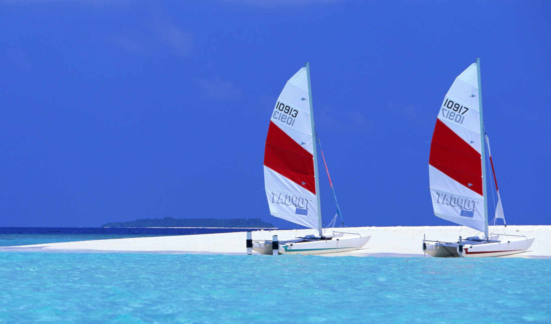 яхты, яхта, пришвартованы, две, острове, парусные, заставки,