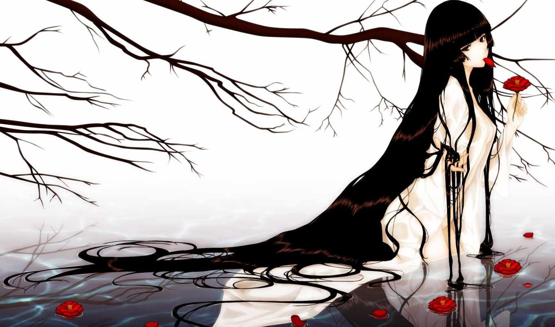 kara, девушка, shoujo, cvety, water, волосы, anime, дерево, branch, art,