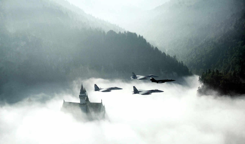 замок, нойшванштайн, morning, истребители, облака, лес, full, castle, smoke, sky, aircrafts, if, bild, points,