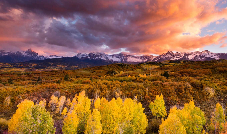 горы, лес, осень, небо, облака, картинку, кнопкой, картинка, правой, мыши,