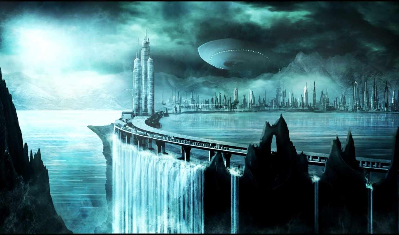 будущее, фэнтези, город, корабли,