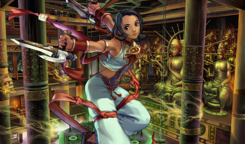 девушка, воин, anime, статуй, нравится, храм,