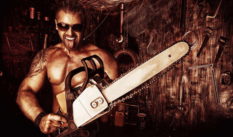 парень, chainsaw, язык, очки, мастерская, инструменты, очках, мужчина,