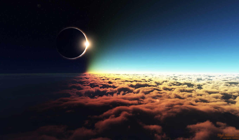 eclipse, солнечный, космос, луна,