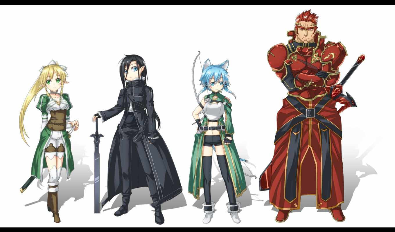 art, online, меч, leafa, волосы, sao, kirito, eyes, kirigaya,