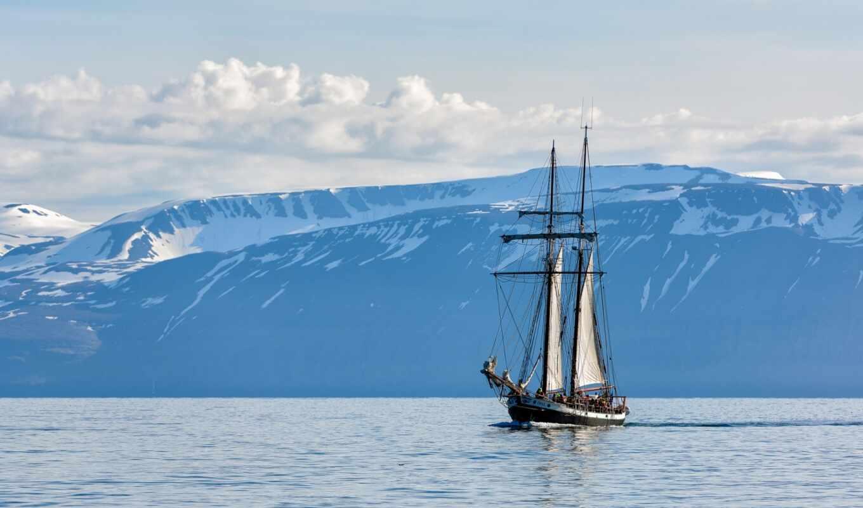 море, sailboat, облако, корабль, небо