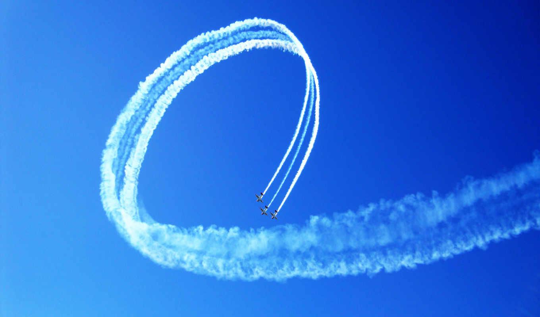 синхронизация, пилотаж, команда, полет, авиация, дым, самолёт, небо,